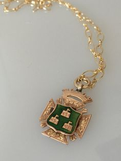 Antique Hallmarked Solid Gold Enameled Castle 1904 Victorian Fob as a Pendant  Necklace  #CELESTEANDCOGEMS