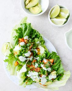 bbq chicken and pineapple lettuce wraps with cilantro yogurt sauce I howsweeteats.com