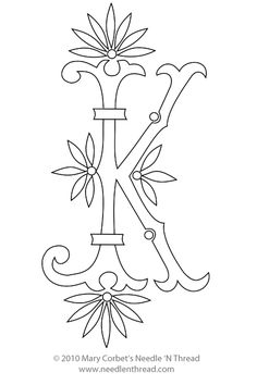 Free Monogram for Hand Embroidery: Letter K