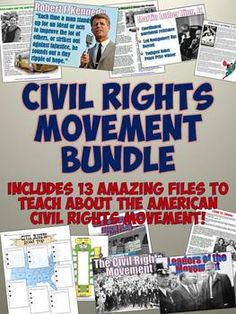 Fantastic Civil Rights Movement Resource Bundle! Includes lots of amazing teaching resources for your Civil Rights Movement unit. Features PowerPoints, projects, readings based on CCSS, and more!