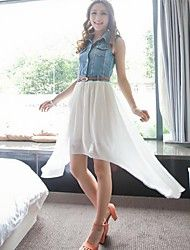 Women's Summer Denim Stitching  Chiffon Dress Save up to 80% Off at Light in the Box with Coupon and Promo Codes.