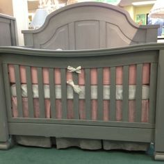 Sugar Vintage Grey Crib by Baby's Dream Furniture with pink and grey bedding