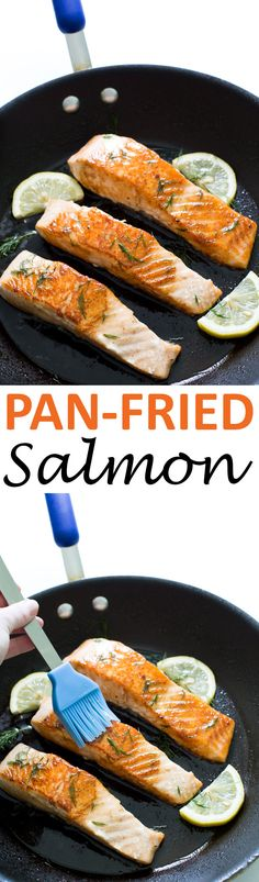 Super Easy Pan Fried Salmon with Lemon Dill Butter. Takes 20 minutes to make and only requires 5 ingredients! | chefsavvy.com #recipe #salmon #seafood #lemon