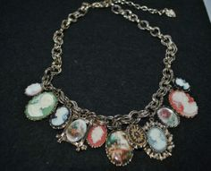 RJ GRAZIANO CAMEO CHARMS HANGING GOLD TONE NECKLACE PENDANT VINTAGE GORGEOUS