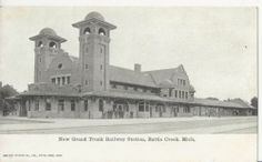 Grand Trunk Railroad Depot Battle Creek MI Michigan - across the street from Morgan & Schaefer Coal Co.
