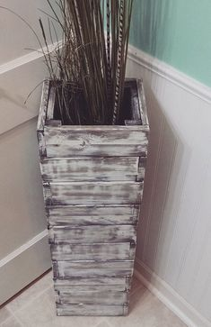 LOWER shipping Stacked rustic wood floor vase. by FortWagler