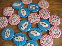 Bride & Groom wedding badges button badges pin badges chapas insignias