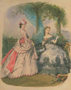1860. Day and evening dress, La Mode Illustree.