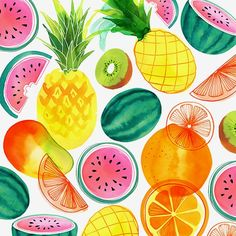 Tropical Fruit Pattern © magrikie