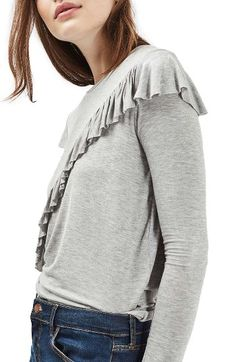Free shipping and returns on Topshop Long Sleeve Ruffle Tee at Nordstrom.com. Cascading ruffles along the front and shoulders elevate a striking long-sleeve tee cut from a stretch cotton-and-modal blend.