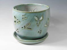 Ceramic orchid pot in smoky blue green glaze by TamarackStoneware