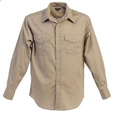 Gioberti Mens Casual Western Solid Long Sleeve Shirt With Pearl Snaps, Khaki, Medium  Go to the website to read more description.