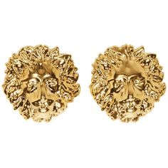 Versus Gold Lion Stud Earrings ($93) ❤ liked on Polyvore featuring jewelry, earrings, accessories, stud earrings, gold earrings jewelry, gold lion jewelry, gold jewellery and gold stud earrings