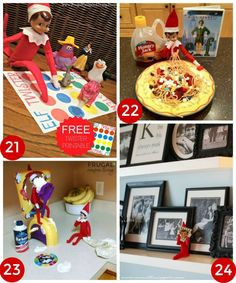 Elf on the Shelf FREE Printable Twister Board, Elf on the Shelf Makes Buddy's Famous Recipe,  Elf on the Shelf Pie Face, Elf on the Shelf Joins the Family Portraits - The Best Elf on the Shelf Ideas on Frugal Coupon Living. Daily ideas for your Elf this Christmas Season. Easy Ideas, FREE Printables, and funny Elf Ideas.