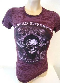 Avenged Sevenfold Girly Tee Hot Topic Fitted Purple Skull Burnout Women's S NEW #HotTopic #GraphicTee