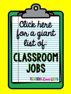Classroom Jobs List