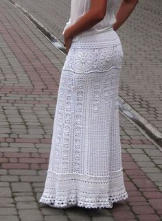 White maxi skirt Crochet wedding dress Bohemian lace dress Bridal skirt Crochet wedding skirt White boho dress White maxi skirt wedding skirt bohemian skirt white by TaramayKnit Bohemian Lace Dress, White Boho Dress, Black Crochet Dress, Crochet Skirts, Crochet Clothes, Bohemian Bride, Crochet Lace, White Maxi Skirts, Maxi Skirt Boho