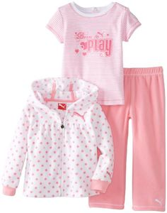 PUMA Baby-Girls Infant 3 Piece Jacket Creeper Pant Set, Sachet Pink, 12 Months PUMA, http://www.amazon.com/gp/product/B00HK7I5S0?ie=UTF8&camp=1789&creativeASIN=B00HK7I5S0&linkCode=xm2&tag=myswecit-20