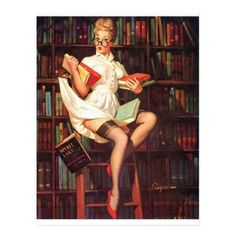Shop Librarian Pin Up Postcard created by Vintage_Art_Boutique. Pin Up Tattoos, Girl Tattoos, Vintage Postcards, Vintage Photos, Library Tattoo, Naughty Librarian, Pin Up Pictures, Pinup Photoshoot, Pin Up Drawings