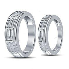 925 Silver 14K White Gold Finish Round Simulated Diamond 0.22 Carat Couples Band #beijojewels #CouplesWeddingBand