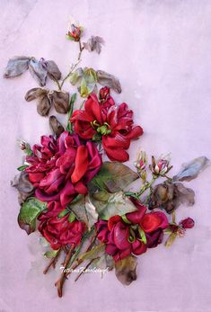 Wall handing art, embroidery picture Red roses Silk ribbon embroidery, ribbon work, ribbon roses, embroidery art gift for her roses Inspired by nature and flowers, these 3-dimensional floral ribbon pictures are delicate, beautiful, and realistic. These will add a pop of color to