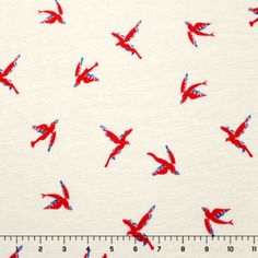 Vintage Red Bird on Cream Cotton Jersey Knit Fabric