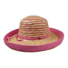Striped Straw Kettle Brim Hat