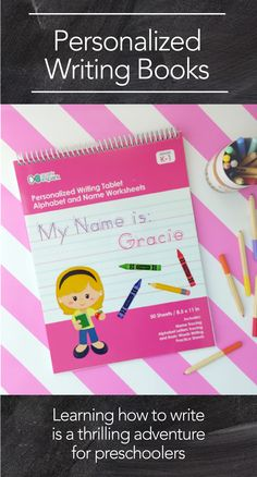 Personalized Writing Books for kids. A great educational gift. Contains personalized writing pages and more. Customize Hair  and skin colors. www.sparkandspark.com
