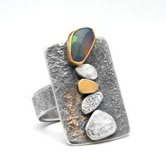 Black Opal Pebble Ring with Sterling Silver and by hammeredbywendy - Wendy Thurlow