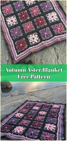 Crochet Autumn Aster Blanket Free Pattern - Crochet Flower Blanket Free Patterns