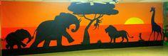 Game Area - Savannah wall Camp Kilimanjaro 2015 Community B Safari Party, Safari Theme, Jungle Theme, Elephant Silhouette, Animal Silhouette, Lion King Jr, Vbs Themes, Safari Decorations, Casamance
