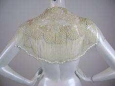 80s Beaded Shawl Collar / Beaded Clams Starfish / Beaded Fringe / Wedding Accessory