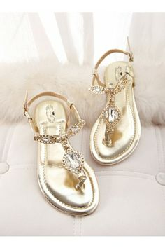 Gold Faux Leather Rhinestone Buckle Sandals