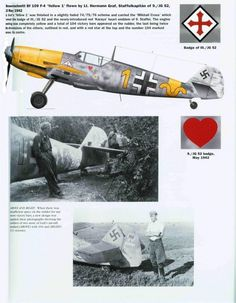 Bf-109 F-4.Yellow 1 flown by Lt. Hermann Graf,of 9./JG 52 May 1942.