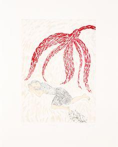 Anna Stangl, Traum, 2018 für die Edition women I von art in print Radierung (Strichätzung kombiniert mit Weichgrundätzung, Aquatinta und Sugarlift) von drei Platten auf Zerkall German Etch Intaglio, gedruckt bei Tom Phelan, Blackspot Press, Wien Limitierte Auflage 33 Exemplare + 5 AP + 2EP + 1 PP, von der Künstlerin handsigniert, betitelt und nummeriert Plattengröße 34,7 x 24,8 cm Blattgröße 50 x 40 cm Erhältlich um EUR 390 ungerahmt oder im Abo bei www.artinprint.at Wood Cut, Anna, Tapestry, The Originals, Graphic Prints, Woodblock Print, Kunst, Silk Screen Printing, Graphics