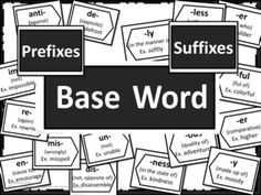 Prefixes and Suffixes Poster Set - Black and White - This set of posters can by utilized in many ways. One of the most effective ways is to display the posters on the wall above something such as a white board after introducing each affix. Thus the students have a resource they can see and use daily. This packet includes: 2 baseword posters (2 pages wide each so needs assembling) 2 Prefix title posters 20 prefix posters 2 Suffix title posters 22 suffix posters 1 blank extra posters