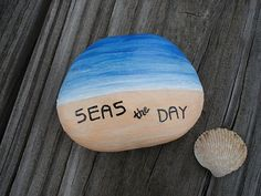 SEAS THE DAY Inspirational Hand Painted Beach Rock by artbyjulia