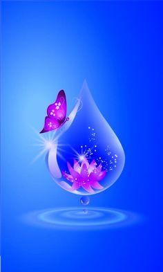 Drops Wallpaper Nature Flowers, Blue Flower Wallpaper, Beautiful Flowers Wallpapers, Heart Wallpaper, Butterfly Wallpaper, Apple Wallpaper, Butterfly Art, Wallpaper Iphone Cute, Love Wallpaper