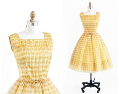 Vintage Yellow Plaid Organza Party or Prom Dress...not quite smocking, but folded pleats gives similar effect.
