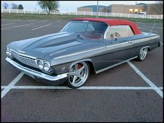 Pro-Touring 62 impala grey red top convertible 5 star billet wheels