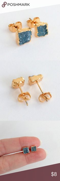 """Genuine druzy gold-plated stud earrings Natural beauty meets a chic and modern design in these gold-plated stunners!  Genuine agate druzy crystals sparkle...a classic staple you'll reach for again and again!  Earrings are nickel and lead free for safety.  PRICE IS FIRM and extremely reasonable, but click """"add to bundle"""" to save 10% on your purchase of 2+ items today! Jewelry Earrings"""