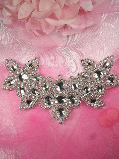 JB51 Hot Fix Silver Beaded Crystal Rhinestone от gloryshouse eb433b539657