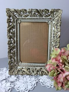 Gold Filigree White Wash Picture Frame 5 x 7 for Table Top and Hanging Frame, Photo Frame, Wedding Frame, Ornate Gold Metal Frame by littlewoodenhouse on Etsy