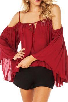 Women Summer Chiffon Blouse Sexy Off Shoulder Straip Shirts Casual Women Blouses&Shirts Plus Size Red Red Chiffon, Chiffon Shirt, Chiffon Tops, Chiffon Dress, Cheap Blouses, Blouses For Women, Ladies Blouses, Look Fashion, Trendy Fashion