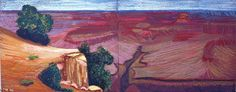 DAVID HOCKNEY: 	Study For a Closer grand canyon VIII, 1998 oil pastel