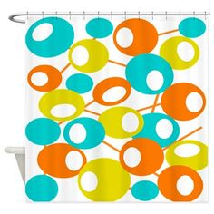 mid century Modern Circles 1 QUEEN Shower Curtain on CafePress.com
