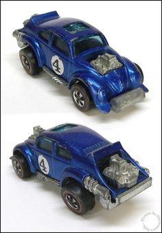 Mattel Hot Wheels Redlline EVIL WEEVIL No. 4 Spectraflame Blue, 1971, Hong Kong #HotWheels #Volkswagen