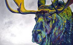 Abstract Painting - Moody Moose by Teshia Art