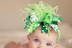 St. Patricks Day Bow with Shamocks Over The Top Bow on matching Headband Free Shipping On All Addional Items. $18.00, via Etsy.