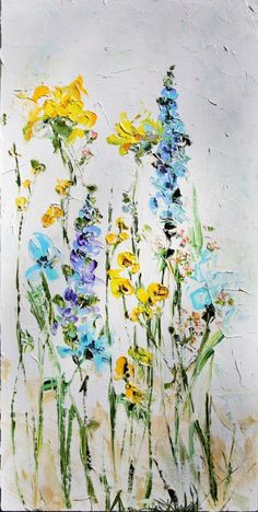 Palette Knife Painting- Oil Painting Original Abstract Flowers on Canvas- Deco Painting Order- Abstract Flower Painting Art English Garden